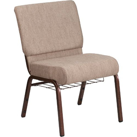 Flash Furniture HERCULES Series 21''W Church Chair in Beige Fabric with Book Rack - Copper Vein Frame FDCH02214CVBGE1BASGG ; Image 1 ; UPC 889142075769