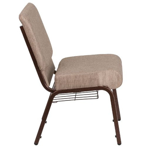 Flash Furniture HERCULES Series 21''W Church Chair in Beige Fabric with Book Rack - Copper Vein Frame FDCH02214CVBGE1BASGG ; Image 2 ; UPC 889142075769