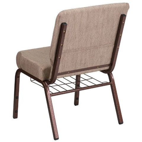 Flash Furniture HERCULES Series 21''W Church Chair in Beige Fabric with Book Rack - Copper Vein Frame FDCH02214CVBGE1BASGG ; Image 3 ; UPC 889142075769