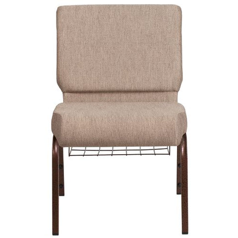 Flash Furniture HERCULES Series 21''W Church Chair in Beige Fabric with Book Rack - Copper Vein Frame FDCH02214CVBGE1BASGG ; Image 4 ; UPC 889142075769