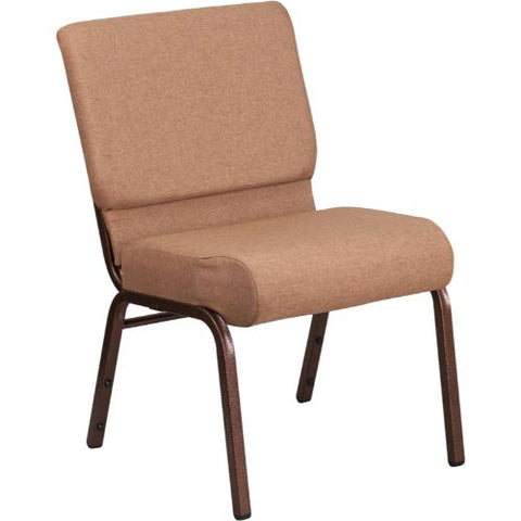 Flash Furniture HERCULES Series 21''W Stacking Church Chair in Caramel Fabric - Copper Vein Frame FDCH02214CVBNGG ; Image 1 ; UPC 889142066040