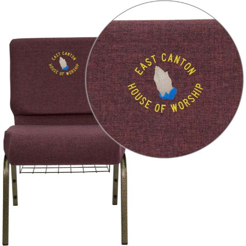 Embroidered HERCULES Series 21'' Extra Wide Plum Fabric Church Chair with 4'' Thick Seat, Communion Cup Book Rack - Gold Vein Frame; (UPC: 847254051453); Goldvein, Plum