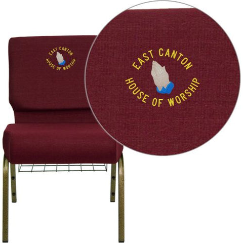 Embroidered HERCULES Series 21'' Extra Wide Burgundy Fabric Church Chair with 4'' Thick Seat, Communion Cup Book Rack - Gold Vein Frame; (UPC: 847254051354); Burgundy, Goldvein