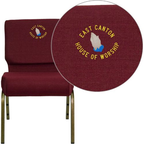 Embroidered HERCULES Series 21'' Extra Wide Burgundy Fabric Stacking Church Chair with 4'' Thick Seat - Gold Vein Frame; (UPC: 847254051415); Burgundy, Goldvein