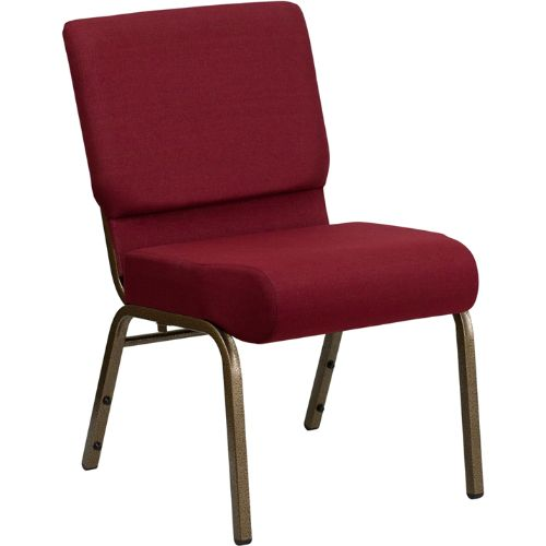 Flash Furniture HERCULES Series 21''W Stacking Church Chair in Burgundy Fabric - Gold Vein Frame FDCH02214GV3169GG ; Image 1 ; UPC 812581012507