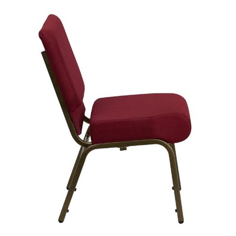Flash Furniture HERCULES Series 21''W Stacking Church Chair in Burgundy Fabric - Gold Vein Frame FDCH02214GV3169GG ; Image 2 ; UPC 812581012507