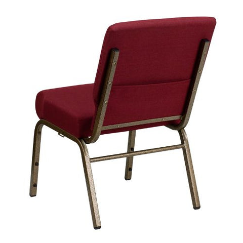 Flash Furniture HERCULES Series 21''W Stacking Church Chair in Burgundy Fabric - Gold Vein Frame FDCH02214GV3169GG ; Image 3 ; UPC 812581012507