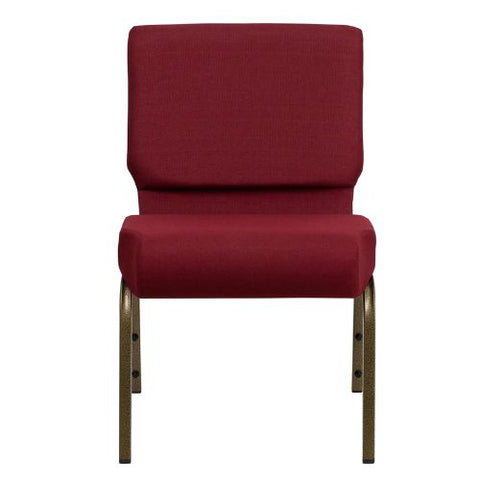 Flash Furniture HERCULES Series 21''W Stacking Church Chair in Burgundy Fabric - Gold Vein Frame FDCH02214GV3169GG ; Image 4 ; UPC 812581012507