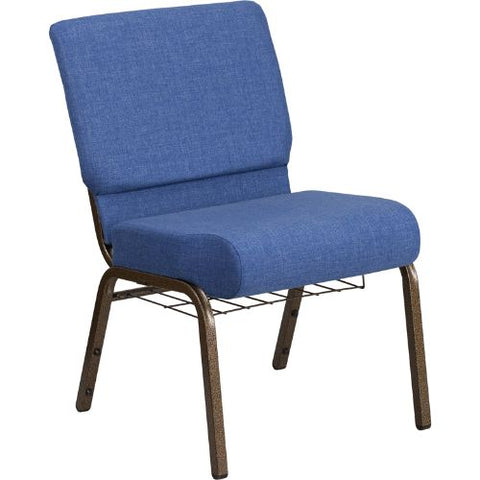 Flash Furniture HERCULES Series 21''W Church Chair in Blue Fabric with Cup Book Rack - Gold Vein Frame FDCH02214GVBLUEBASGG ; Image 1 ; UPC 889142075783