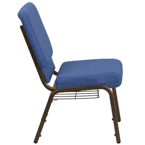 Flash Furniture HERCULES Series 21''W Church Chair in Blue Fabric with Cup Book Rack - Gold Vein Frame FDCH02214GVBLUEBASGG ; Image 2 ; UPC 889142075783