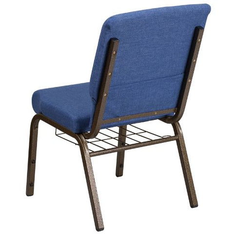 Flash Furniture HERCULES Series 21''W Church Chair in Blue Fabric with Cup Book Rack - Gold Vein Frame FDCH02214GVBLUEBASGG ; Image 3 ; UPC 889142075783