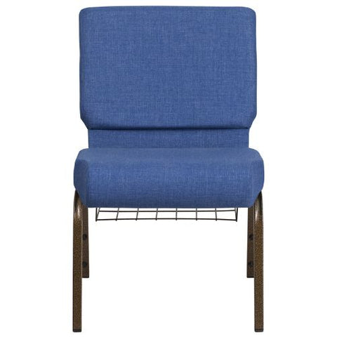 Flash Furniture HERCULES Series 21''W Church Chair in Blue Fabric with Cup Book Rack - Gold Vein Frame FDCH02214GVBLUEBASGG ; Image 4 ; UPC 889142075783