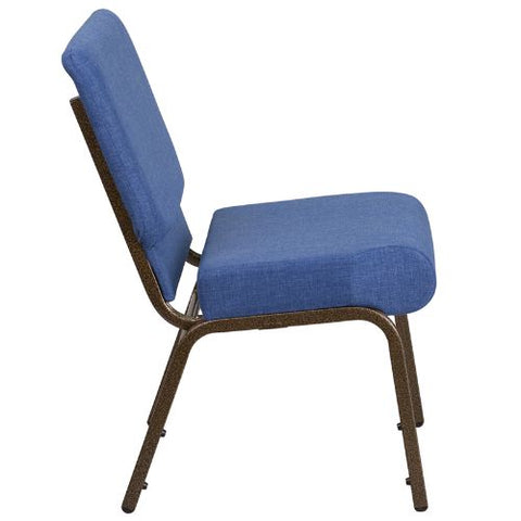 Flash Furniture HERCULES Series 21''W Stacking Church Chair in Blue Fabric - Gold Vein Frame FDCH02214GVBLUEGG ; Image 2 ; UPC 889142066064