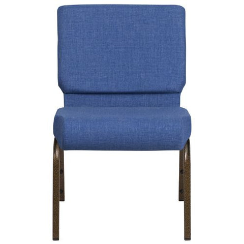 Flash Furniture HERCULES Series 21''W Stacking Church Chair in Blue Fabric - Gold Vein Frame FDCH02214GVBLUEGG ; Image 4 ; UPC 889142066064