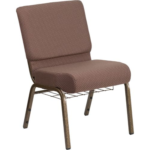 Flash Furniture HERCULES Series 21''W Church Chair in Brown Dot Fabric with Book Rack - Gold Vein Frame FDCH02214GVBNDOTBASGG ; Image 1 ; UPC 889142075745