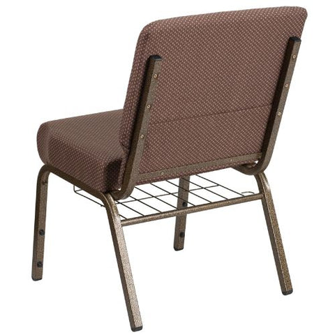 Flash Furniture HERCULES Series 21''W Church Chair in Brown Dot Fabric with Book Rack - Gold Vein Frame FDCH02214GVBNDOTBASGG ; Image 3 ; UPC 889142075745