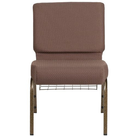 Flash Furniture HERCULES Series 21''W Church Chair in Brown Dot Fabric with Book Rack - Gold Vein Frame FDCH02214GVBNDOTBASGG ; Image 4 ; UPC 889142075745