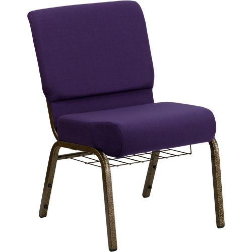 Flash Furniture HERCULES Series 21''W Church Chair in Royal Purple Fabric with Cup Book Rack - Gold Vein Frame FDCH02214GVROYBASGG ; Image 1 ; UPC 847254038751