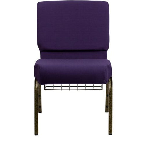 Flash Furniture HERCULES Series 21''W Church Chair in Royal Purple Fabric with Cup Book Rack - Gold Vein Frame FDCH02214GVROYBASGG ; Image 4 ; UPC 847254038751