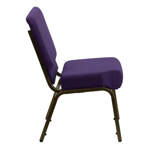 Flash Furniture HERCULES Series 21''W Stacking Church Chair in Royal Purple Fabric - Gold Vein Frame FDCH02214GVROYGG ; Image 2 ; UPC 847254038744