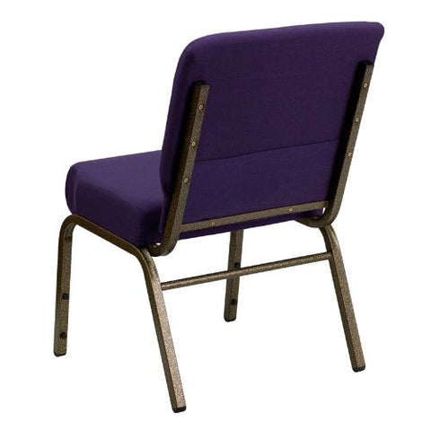Flash Furniture HERCULES Series 21''W Stacking Church Chair in Royal Purple Fabric - Gold Vein Frame FDCH02214GVROYGG ; Image 3 ; UPC 847254038744