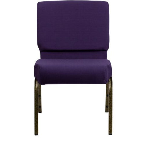 Flash Furniture HERCULES Series 21''W Stacking Church Chair in Royal Purple Fabric - Gold Vein Frame FDCH02214GVROYGG ; Image 4 ; UPC 847254038744