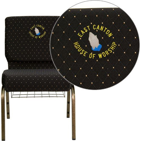 Embroidered HERCULES Series 21'' Extra Wide Black Dot Patterned Fabric Church Chair with 4'' Thick Seat, Communion Cup Book Rack - Gold Vein Frame; (UPC: 847254051422); Black Patterned, Goldvein