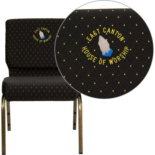 Embroidered HERCULES Series 21'' Extra Wide Black Dot Patterned Fabric Stacking Church Chair with 4'' Thick Seat - Gold Vein Frame; (UPC: 847254051514); Black Patterned, Goldvein