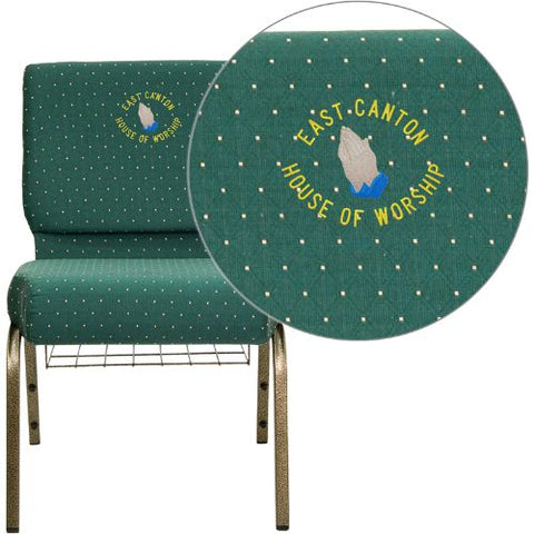 Embroidered HERCULES Series 21'' Extra Wide Hunter Green Dot Patterned Fabric Church Chair with 4'' Thick Seat, Communion Cup Book Rack - Gold Vein Frame; (UPC: 847254051521); Goldvein, Green Patterned