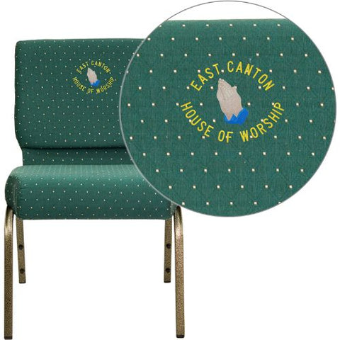 Embroidered HERCULES Series 21'' Extra Wide Hunter Green Dot Patterned Fabric Stacking Church Chair with 4'' Thick Seat - Gold Vein Frame; (UPC: 847254051538); Goldvein, Green Patterned