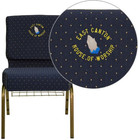 Embroidered HERCULES Series 21'' Extra Wide Navy Blue Dot Patterned Fabric Church Chair with 4'' Thick Seat, Communion Cup Book Rack - Gold Vein Frame; (UPC: 847254051545); Goldvein, Navy Blue Patterned