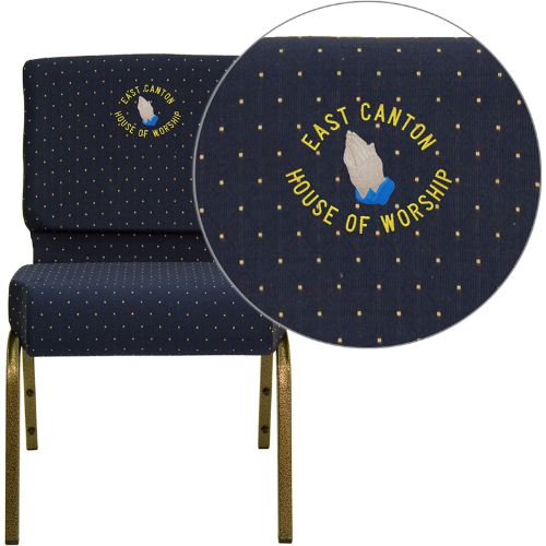 Embroidered HERCULES Series 21'' Extra Wide Navy Blue Dot Patterned Fabric Stacking Church Chair with 4'' Thick Seat - Gold Vein Frame; (UPC: 847254051385); Goldvein, Navy Blue Patterned
