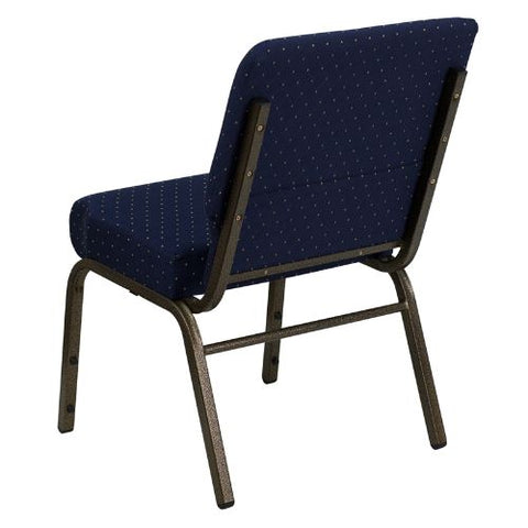 Flash Furniture HERCULES Series 21''W Stacking Church Chair in Navy Blue Dot Patterned Fabric - Gold Vein Frame FDCH02214GVS0810GG ; Image 3 ; UPC 812581012576