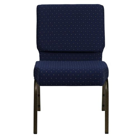 Flash Furniture HERCULES Series 21''W Stacking Church Chair in Navy Blue Dot Patterned Fabric - Gold Vein Frame FDCH02214GVS0810GG ; Image 4 ; UPC 812581012576
