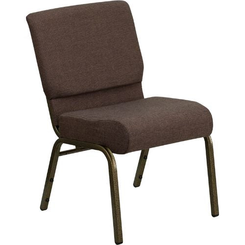 Flash Furniture HERCULES Series 21''W Stacking Church Chair in Brown Fabric - Gold Vein Frame FDCH02214GVS0819GG ; Image 1 ; UPC 812581012590