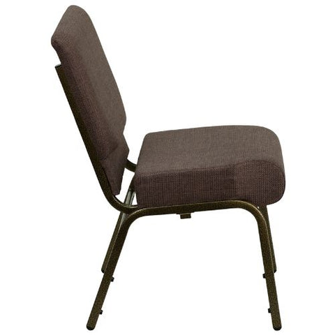 Flash Furniture HERCULES Series 21''W Stacking Church Chair in Brown Fabric - Gold Vein Frame FDCH02214GVS0819GG ; Image 2 ; UPC 812581012590