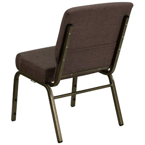 Flash Furniture HERCULES Series 21''W Stacking Church Chair in Brown Fabric - Gold Vein Frame FDCH02214GVS0819GG ; Image 3 ; UPC 812581012590