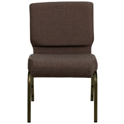 Flash Furniture HERCULES Series 21''W Stacking Church Chair in Brown Fabric - Gold Vein Frame FDCH02214GVS0819GG ; Image 4 ; UPC 812581012590