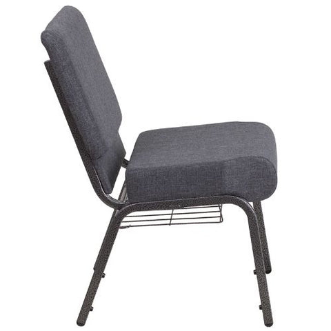 Flash Furniture HERCULES Series 21''W Church Chair in Dark Gray Fabric with Book Rack - Silver Vein Frame FDCH02214SVDKGYBASGG ; Image 2 ; UPC 889142075790