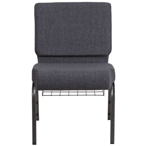 Flash Furniture HERCULES Series 21''W Church Chair in Dark Gray Fabric with Book Rack - Silver Vein Frame FDCH02214SVDKGYBASGG ; Image 4 ; UPC 889142075790