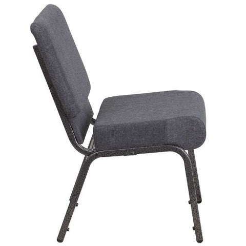 Flash Furniture HERCULES Series 21''W Church Chair in Dark Gray Fabric - Silver Vein Frame FDCH02214SVDKGYGG ; Image 2 ; UPC 889142066101