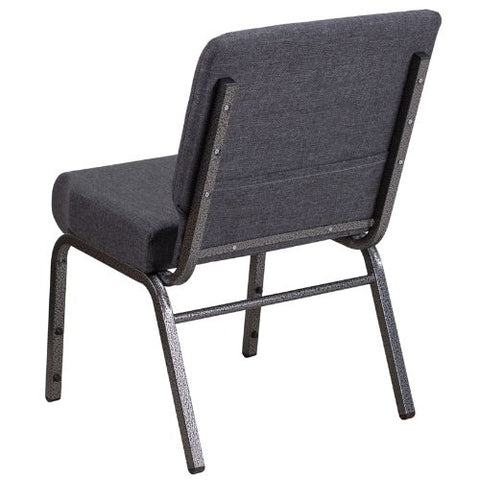 Flash Furniture HERCULES Series 21''W Church Chair in Dark Gray Fabric - Silver Vein Frame FDCH02214SVDKGYGG ; Image 3 ; UPC 889142066101