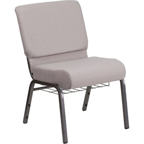 Flash Furniture HERCULES Series 21''W Church Chair in Gray Dot Fabric with Book Rack - Silver Vein Frame FDCH02214SVGYDOTBASGG ; Image 1 ; UPC 889142075752