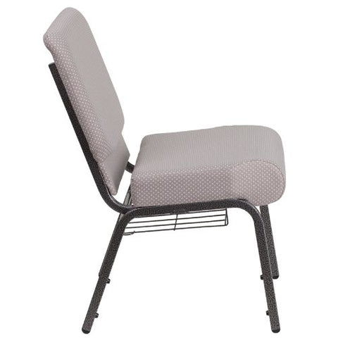 Flash Furniture HERCULES Series 21''W Church Chair in Gray Dot Fabric with Book Rack - Silver Vein Frame FDCH02214SVGYDOTBASGG ; Image 2 ; UPC 889142075752