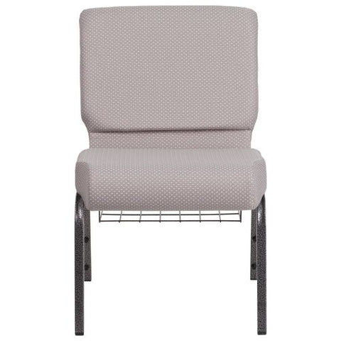 Flash Furniture HERCULES Series 21''W Church Chair in Gray Dot Fabric with Book Rack - Silver Vein Frame FDCH02214SVGYDOTBASGG ; Image 4 ; UPC 889142075752