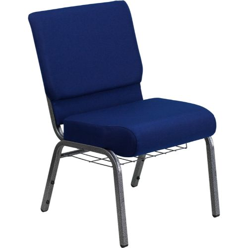 Flash Furniture HERCULES Series 21''W Church Chair in Navy Blue Fabric with Cup Book Rack - Silver Vein Frame FDCH02214SVNB24BASGG ; Image 1 ; UPC 812581012606