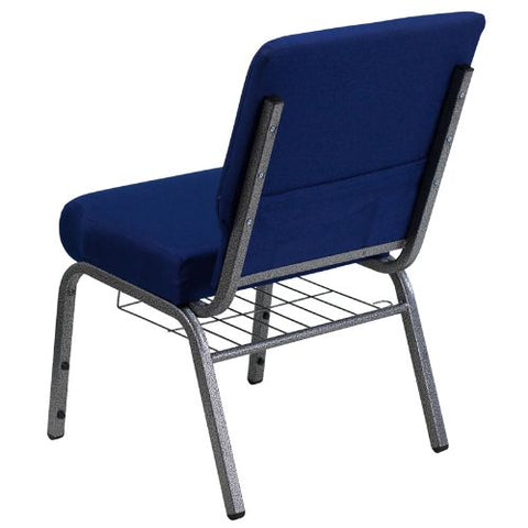 Flash Furniture HERCULES Series 21''W Church Chair in Navy Blue Fabric with Cup Book Rack - Silver Vein Frame FDCH02214SVNB24BASGG ; Image 3 ; UPC 812581012606