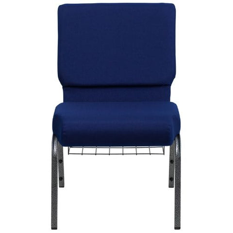 Flash Furniture HERCULES Series 21''W Church Chair in Navy Blue Fabric with Cup Book Rack - Silver Vein Frame FDCH02214SVNB24BASGG ; Image 4 ; UPC 812581012606