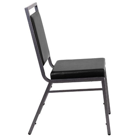 Flash Furniture HERCULES Series Square Back Stacking Banquet Chair in Black Vinyl with Silvervein Frame FDLUXSILBKVGG ; Image 3 ; UPC 889142671367