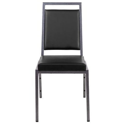 Flash Furniture HERCULES Series Square Back Stacking Banquet Chair in Black Vinyl with Silvervein Frame FDLUXSILBKVGG ; Image 5 ; UPC 889142671367